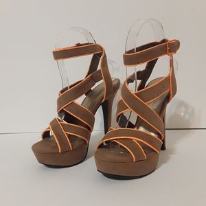 """Qupid Brown Faux Suede Strappy 5"""" Heels Buckle"""